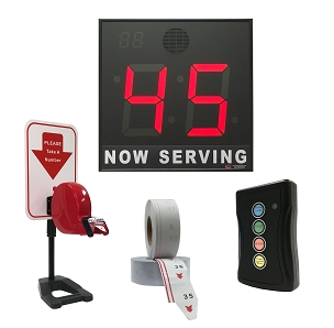 BRG's Take-A-Number System w/ Countertop Stand Ticket Dispenser, 2-Digit, 8 in. Display