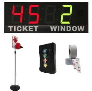 BRG's Take-A-Number System w/ Floor Stand Ticket Dispenser, 4-Digit, 8 in. Display