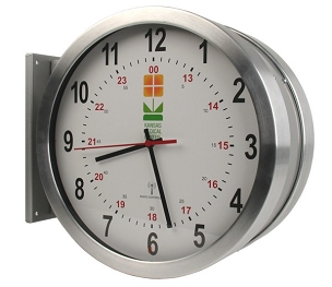 15 in. Double-Sided DuraTime HP Brushed Aluminum Analog Clock