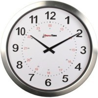DuraTime LifeTime 15 in. Brushed Aluminum Analog Clock, Battery Operated