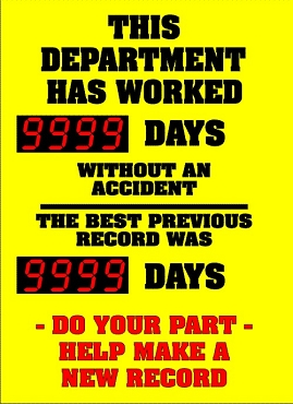 Department Current Record/Previous Record Accident Free Timer